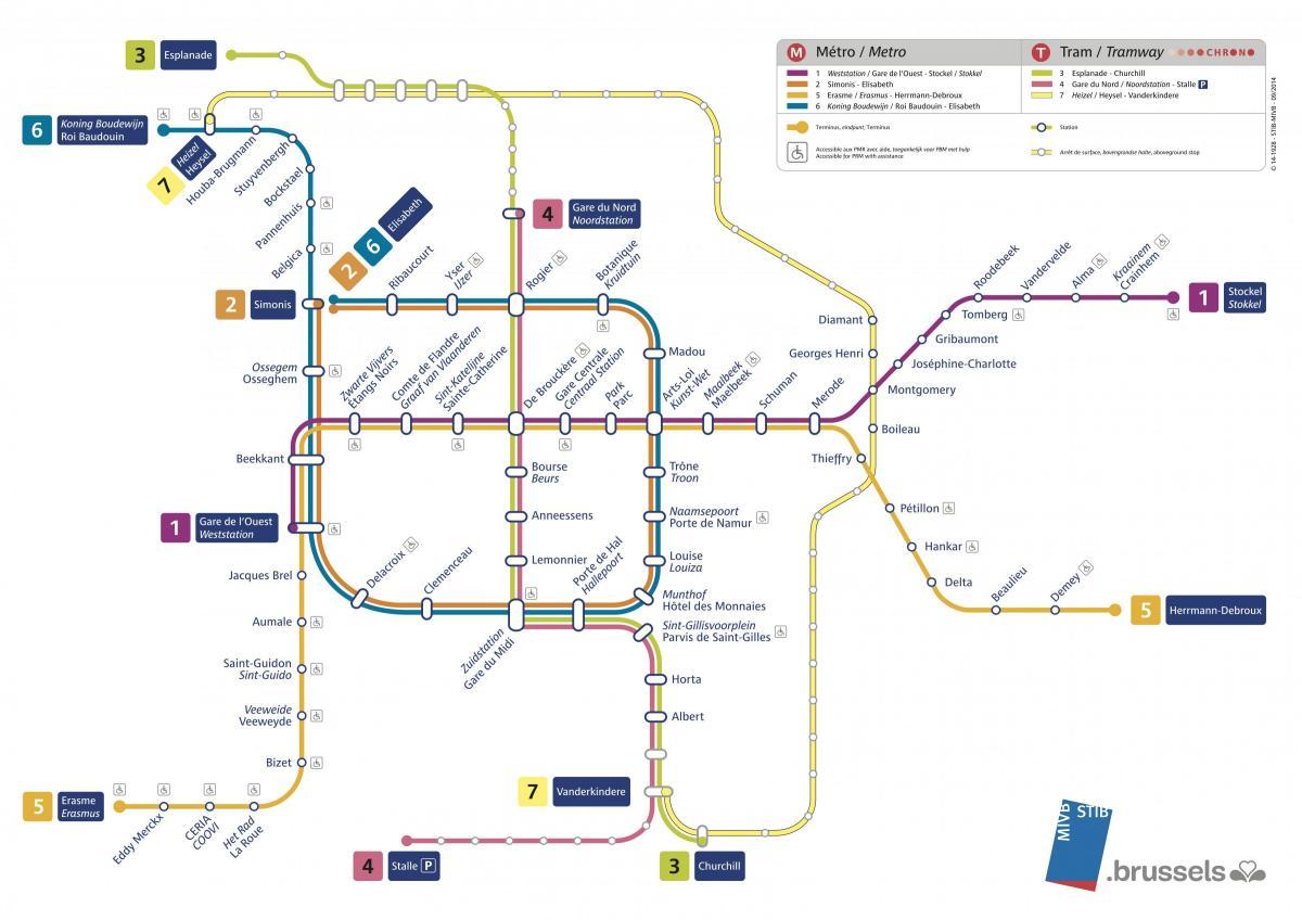 brüsszel térkép látnivalókkal Brüsszeli metró térkép látnivalók   Térkép Brüsszeli metró